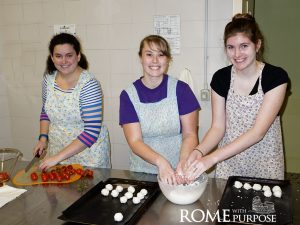 Making cookies in cooking classes in Italy