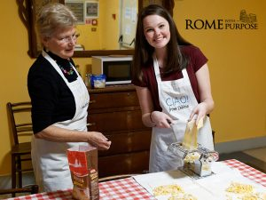 Danielle makes pasta in Italian cooking classes