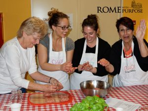 Italian cooking classes making meatballs